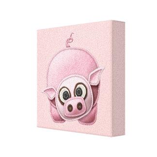 SCRAPBOOKING PINK PIG PIGGIE PIGLET CUTE CARTOON F CANVAS PRINT
