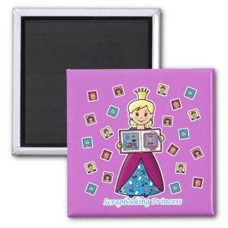Scrapbooking Princess 2 Inch Square Magnet