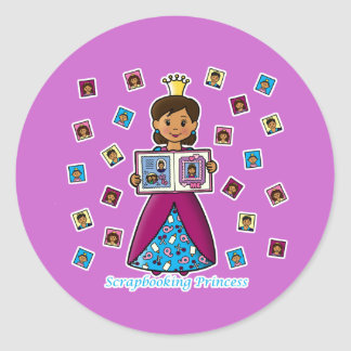 Scrapbooking Princess Classic Round Sticker