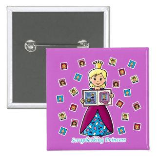 Scrapbooking Princess Pinback Button