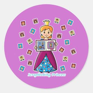 Scrapbooking Princess Round Sticker
