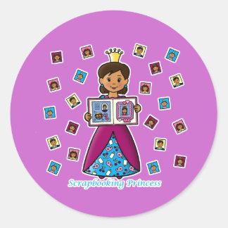 Scrapbooking Princess Round Stickers