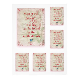Scrapbooking Sheet Quotation Beauty Pink Roses