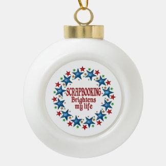 Scrapbooking Stars Ceramic Ball Christmas Ornament
