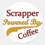 Scrapper accionado por el café etiquetas redondas