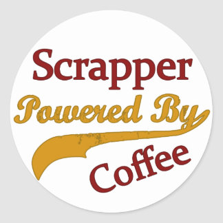 Scrapper Powered By Coffee Round Stickers