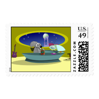 Scrappy at the officw postage stamp