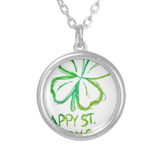 Scratch Card Art - St. Paddy's Day Silver Plated Necklace