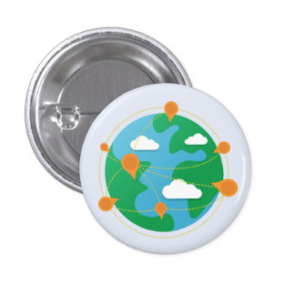 Scratch Day Globe Button (White)