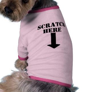 Scratch Here Arrow Down Dog T-Shirt