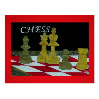 Scratchboard Art of King and Queen Chess Players Postcard