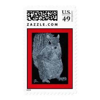 Scratchboard Squirrel postage stamp