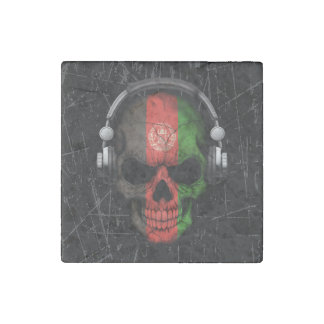 Scratched Afghan Dj Skull with Headphones Stone Magnet