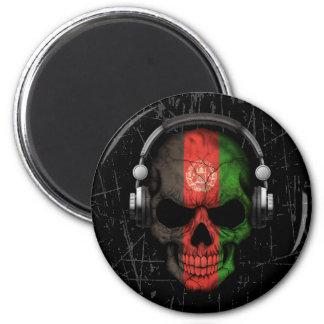 Scratched Afghan Dj Skull with Headphones Fridge Magnet