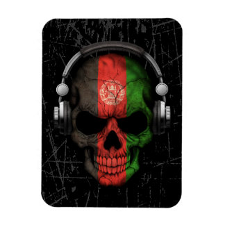 Scratched Afghan Dj Skull with Headphones Rectangle Magnets