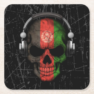 Scratched Afghan Dj Skull with Headphones Square Paper Coaster