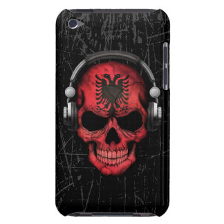 Scratched Albanian Dj Skull with Headphones Barely There iPod Cover