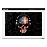"""Scratched American Dj Skull with Headphones 17"""" Laptop Decal"""