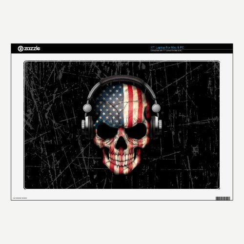 "Scratched American Dj Skull with Headphones 17"" Laptop Decal"