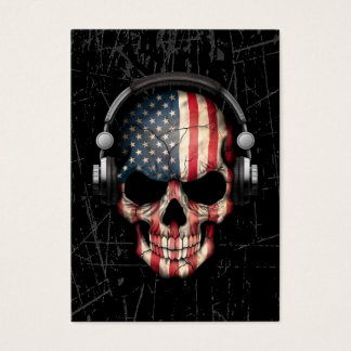Scratched American Dj Skull with Headphones Business Card