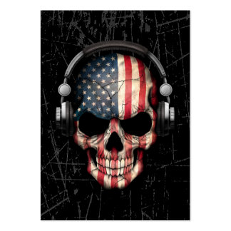 Scratched American Dj Skull with Headphones Large Business Card