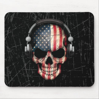 Scratched American Dj Skull with Headphones Mouse Pad