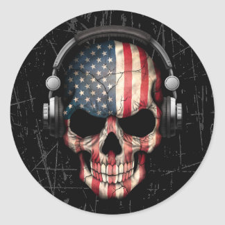 Scratched American Dj Skull with Headphones Round Sticker