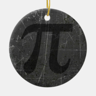 Scratched and Aged Black and Gray Pi Math Symbol Christmas Tree Ornament