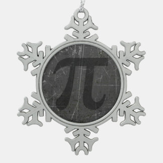Scratched and Aged Black and Gray Pi Math Symbol Ornaments
