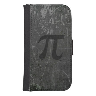 Scratched and Aged Black and Gray Pi Math Symbol Wallet Phone Case For Samsung Galaxy S4