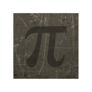 Scratched and Aged Black and Gray Pi Math Symbol Wood Wall Art