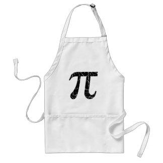 Scratched and Aged Black Pi Math Symbol Adult Apron