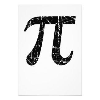 Scratched and Aged Black Pi Math Symbol Custom Invites