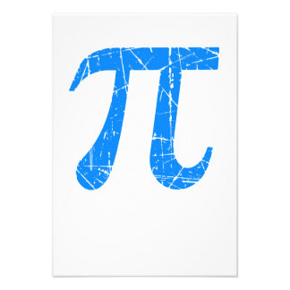 Scratched and Aged Blue Pi Math Symbol Personalized Invitations