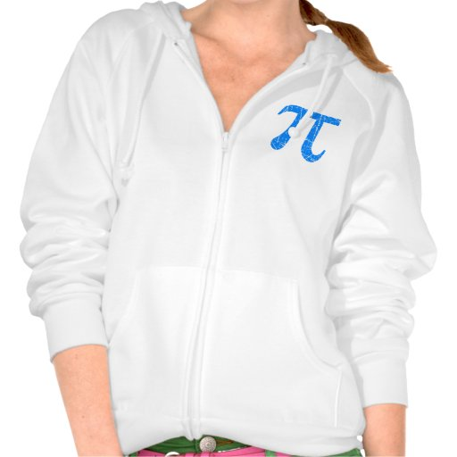 Scratched and Aged Blue Pi Math Symbol Hoodies