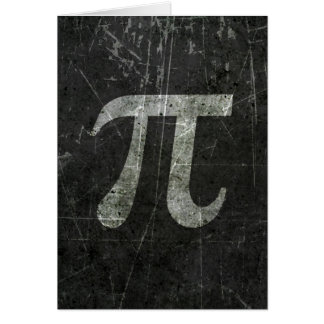 Scratched and Aged Dark Gray Pi Math Symbol Card