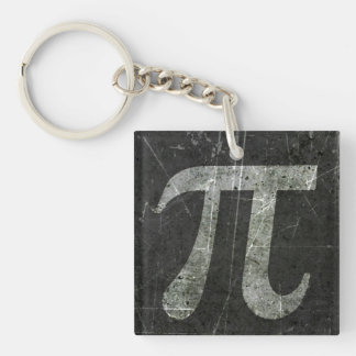Scratched and Aged Dark Gray Pi Math Symbol Acrylic Keychains