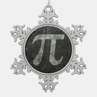 Scratched and Aged Dark Gray Pi Math Symbol Ornaments