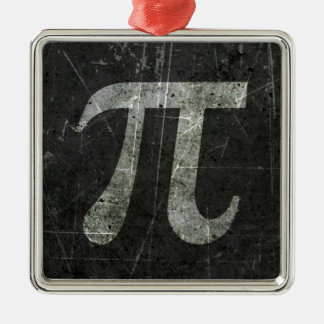Scratched and Aged Dark Gray Pi Math Symbol Christmas Tree Ornament