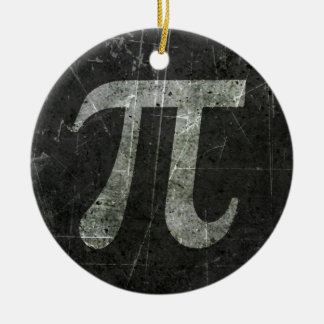 Scratched and Aged Dark Gray Pi Math Symbol Ornament