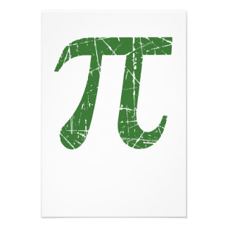 Scratched and Aged Green Pi Math Symbol Custom Invites