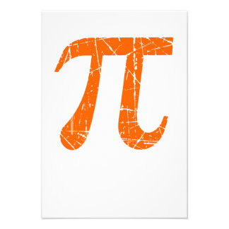 Scratched and Aged Orange Pi Math Symbol Personalized Announcement