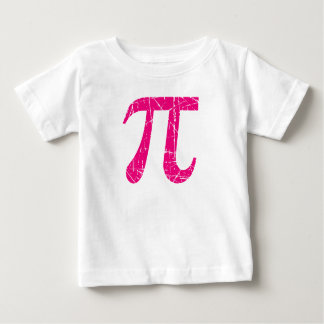 Scratched and Aged Pink Pi Math Symbol Tee Shirt