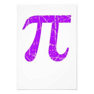 Scratched and Aged Purple Pi Math Symbol Invite