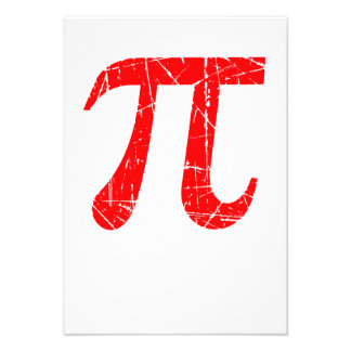 Scratched and Aged Red Pi Math Symbol Custom Invitation