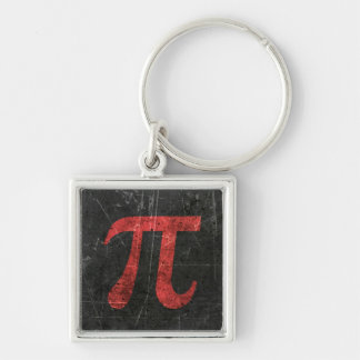 Scratched and Aged Red Pi Math Symbol on Black Key Chains