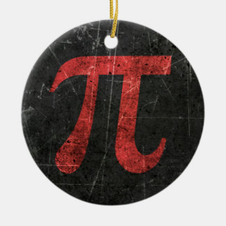 Scratched and Aged Red Pi Math Symbol on Black Christmas Ornament