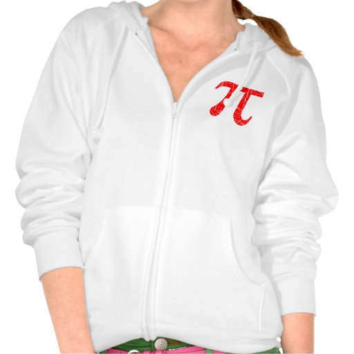 Scratched and Aged Red Pi Math Symbol Hooded Sweatshirt