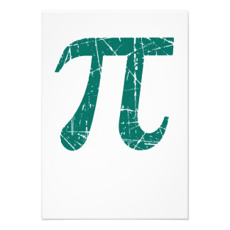 Scratched and Aged Teal Blue Pi Math Symbol Personalized Invitations