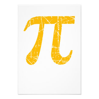 Scratched and Aged Yellow Pi Math Symbol Personalized Invite